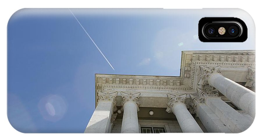 Planes IPhone X Case featuring the photograph Fly Over Capital Hdr by Mitch Johanson