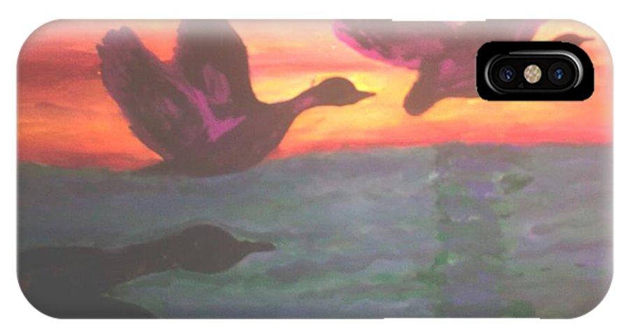 Birds IPhone X Case featuring the painting Flying Birds by Ekta Prakash