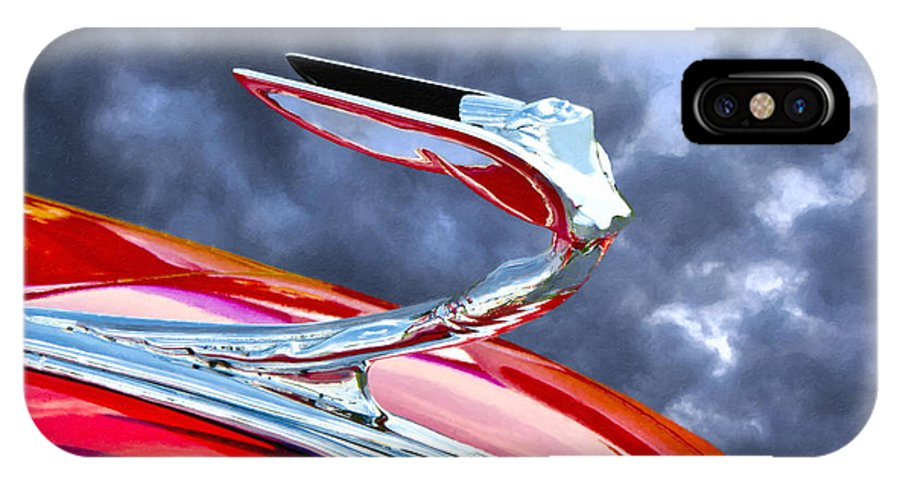 Hood Ornament American Classic Car Transportation Red Chrome Blue Sky Clouds Old Silver Angel Wings Lady Flying Goddess Vintage V8 1930's 1940's 1950's Hotrod Art-deco Deco Auto Automotive IPhone X Case featuring the photograph Flying Goddess by Adam Olsen