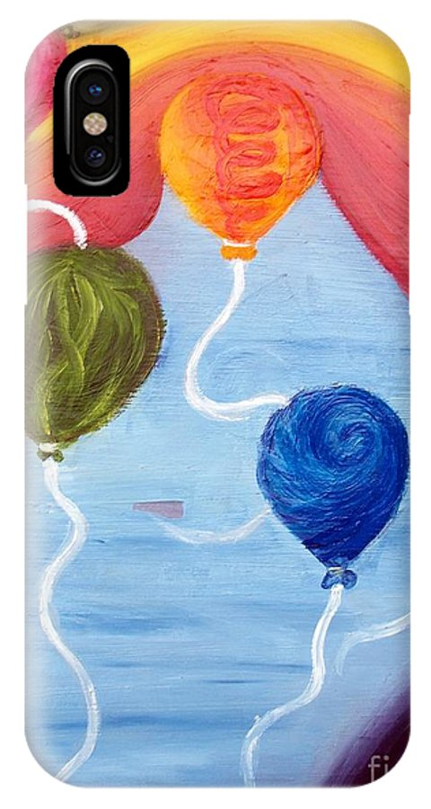 Balloons IPhone X Case featuring the painting Flying High by Jarem Vilez