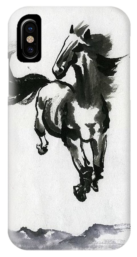 Horse IPhone X Case featuring the painting Flying Horse by Ping Yan