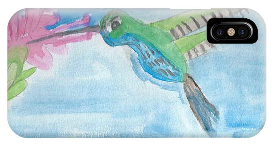 Flying Hummingbird IPhone X Case featuring the painting Flying Hummingbird by Epic Luis Art