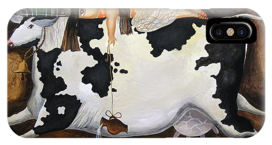 Cow IPhone X / XS Case featuring the painting Flying In Dreams And Reality by Yelena Revis