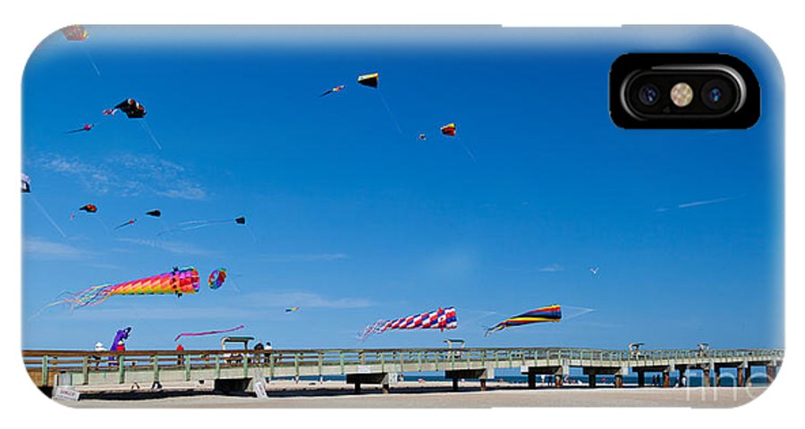 Flying Kites From The Pier IPhone X Case featuring the photograph Flying Kites From The Pier by Michelle Constantine