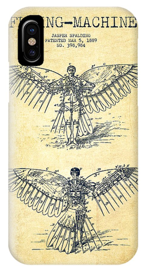 Icarus IPhone X / XS Case featuring the digital art Flying Machine Patent Drawing-vintage by Aged Pixel