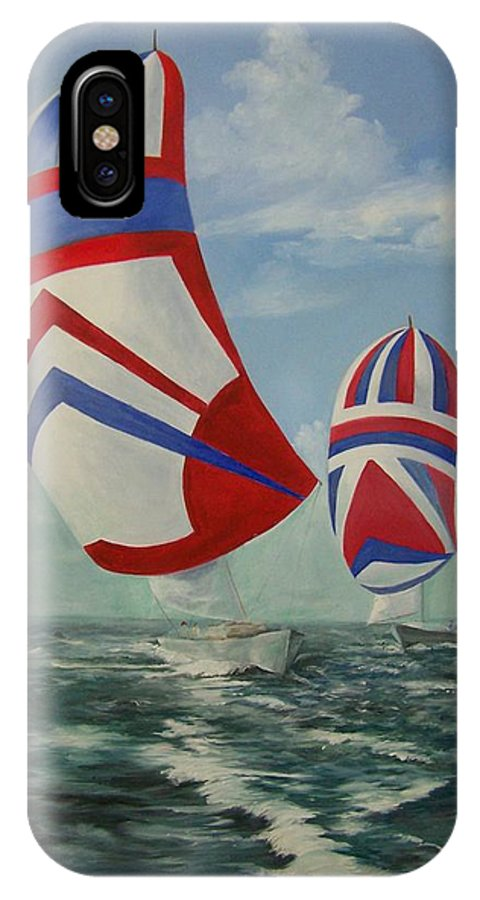 Sailing Ships IPhone X Case featuring the painting Flying The Colors by Wanda Dansereau