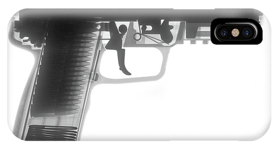 Gun Collectible IPhone X Case featuring the photograph Fn 57 Hand Gun X-ray Photograph by Ray Gunz