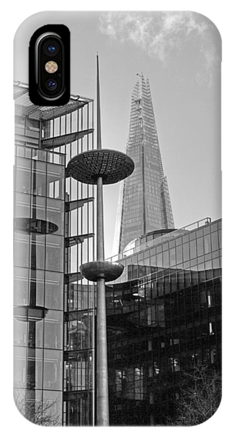London IPhone X Case featuring the photograph Focus On The Shard London In Black And White by Gill Billington