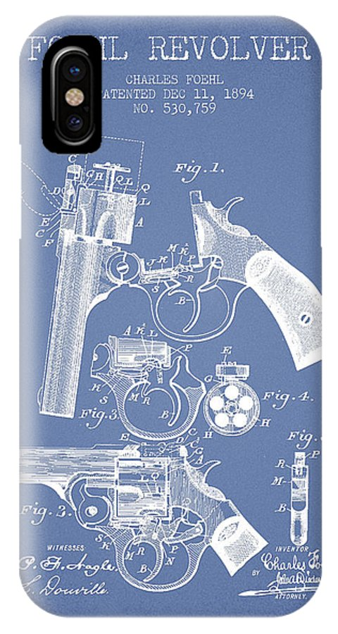 Pistol IPhone X / XS Case featuring the digital art Foehl Revolver Patent Drawing From 1894 - Light Blue by Aged Pixel