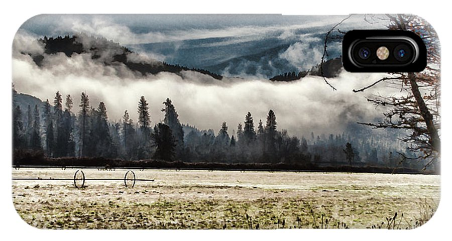 Digital Paint IPhone X Case featuring the photograph Fog Beyond The Tilled Field by Mick Anderson