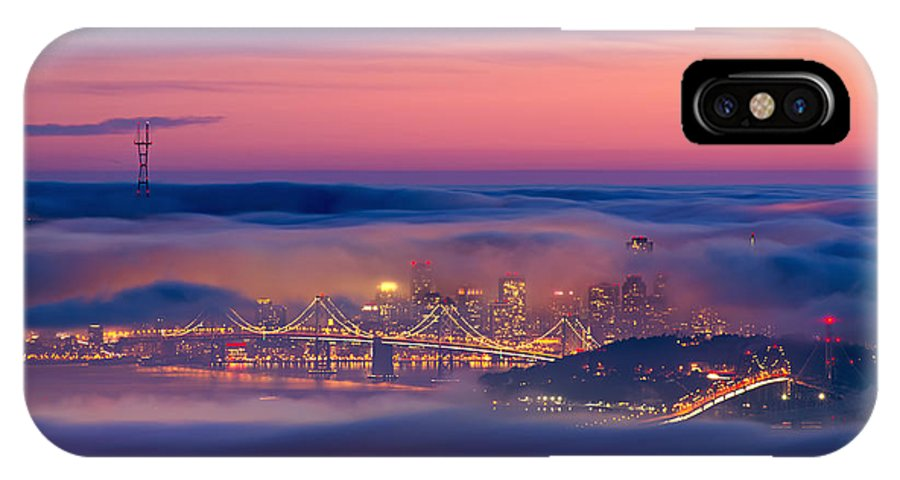 Fog City - San Francisco Sunset Colors IPhone X Case featuring the photograph Fog City - San Francisco by David Yu
