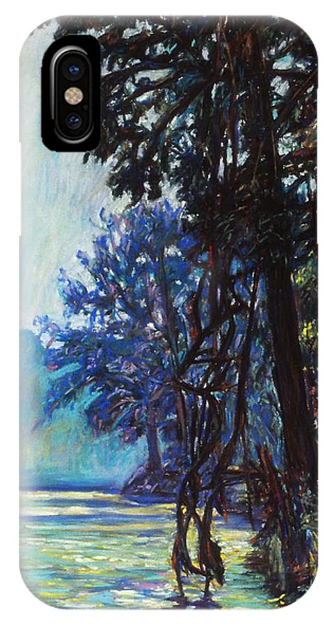 Kendall Kessler IPhone X Case featuring the painting Fog On The New River by Kendall Kessler