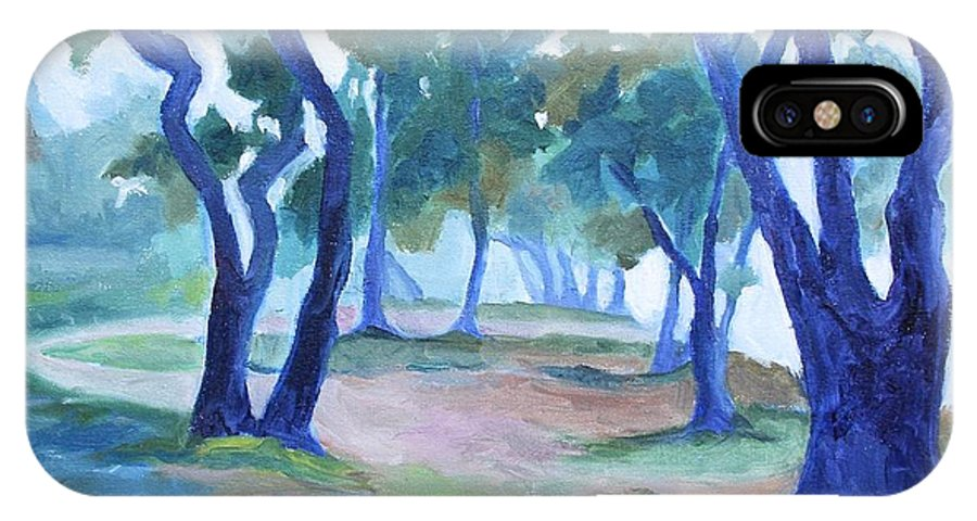 Fog IPhone X Case featuring the painting Fog Under The Oaks by Jan Bennicoff
