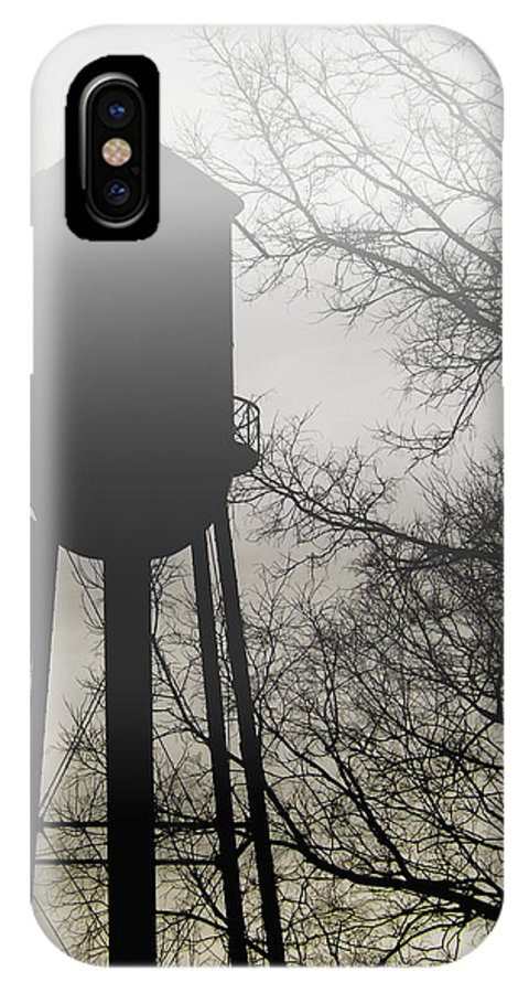 Old Water Tower IPhone X Case featuring the photograph Foggy Tower Silhouette by Kristie Bonnewell