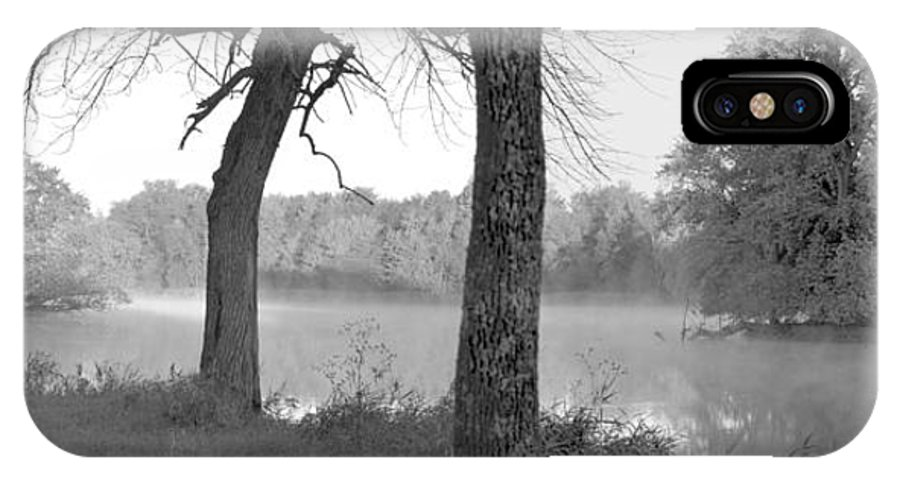 Panorama IPhone X Case featuring the photograph Foggy Waters Bw by Bonfire Photography