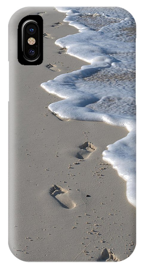 Caribbean IPhone X Case featuring the photograph Footprints In The Sand by Caroline Stella