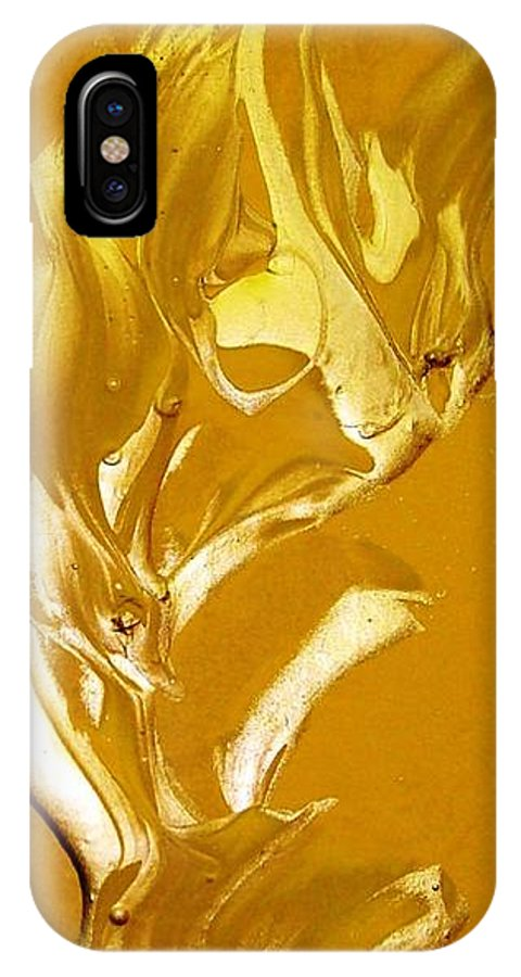 Gold IPhone X Case featuring the painting For Love  For All by Bruce Combs - REACH BEYOND