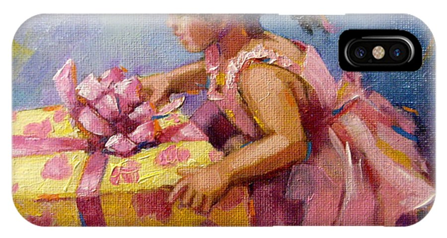 Little Girl IPhone X Case featuring the painting For Me? by Linda Smith