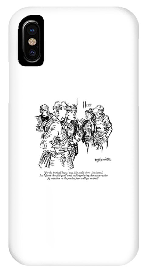Food Dining High Cuisine Restaurants   (a Couple Talking Outside A Restaurant.) 119243 Whm William Hamilton Sumnerperm IPhone X Case featuring the drawing For The First Half Hour by William Hamilton