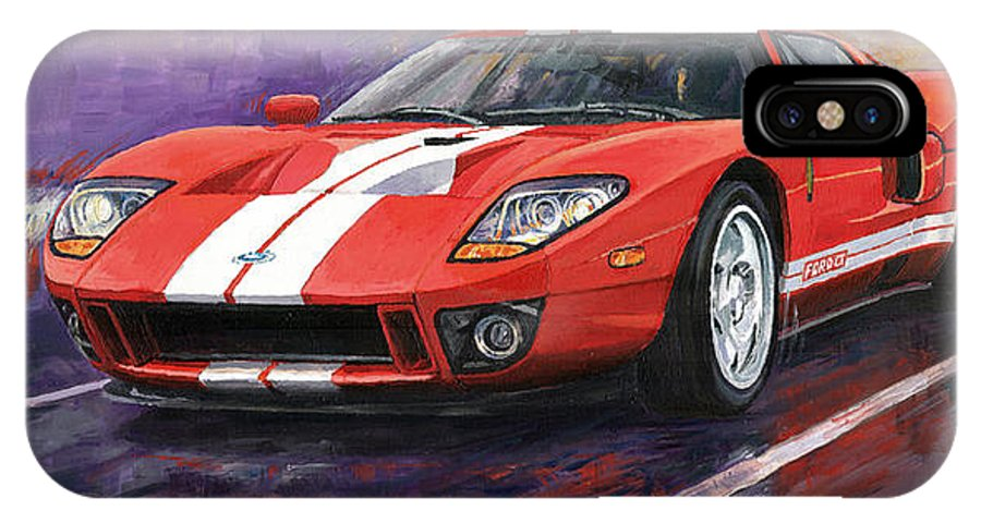 Automotive Iphone X Case Featuring The Painting Ford Gt  By Yuriy Shevchuk