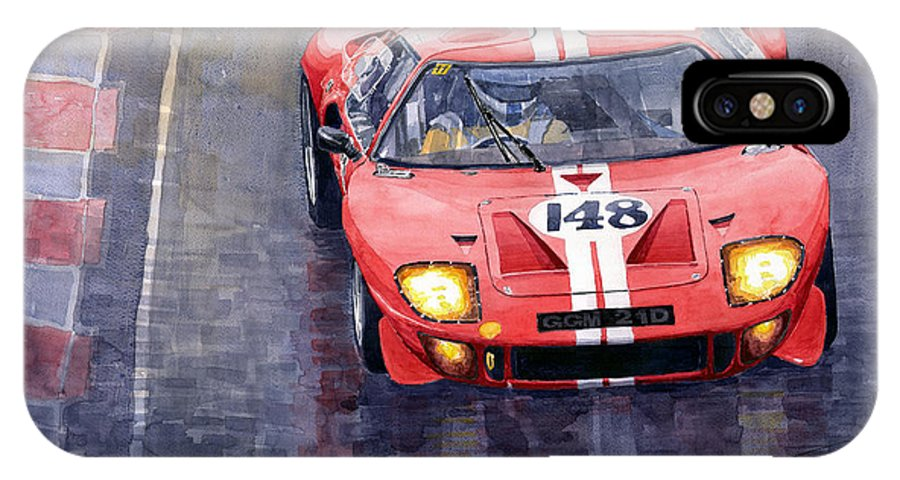 Watercolor Iphone X Case Featuring The Painting Ford Gt   Le Mans By Yuriy Shevchuk
