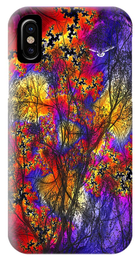Forest Fire IPhone X Case featuring the digital art Forest Fire by Lisa Yount