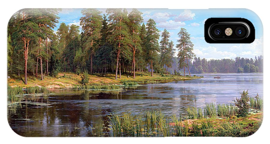Forest River IPhone X Case featuring the painting Forest Lake by Basov