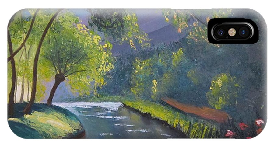 Nature IPhone X Case featuring the painting Forest Stream by Mykhajlo Vaidulych