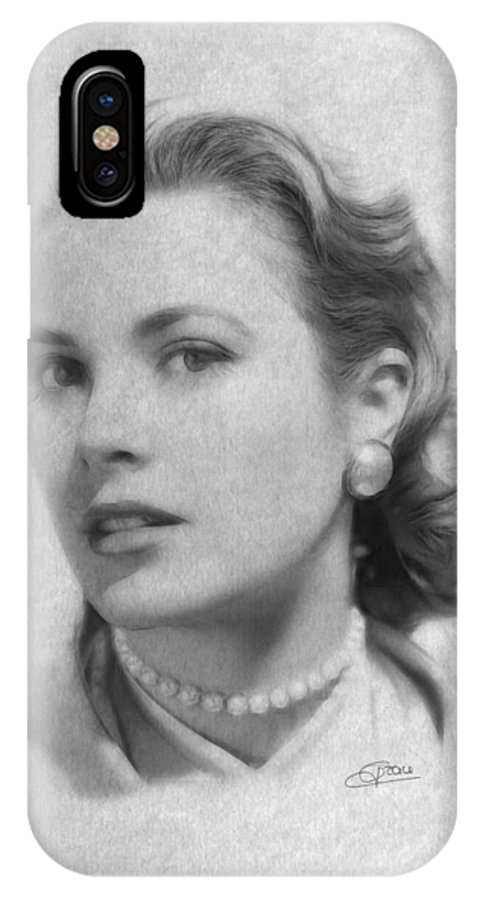 Grace Kelly Lady Woman Erotic Famous Actress Monaco Beauty Hollywood Female IPhone X Case featuring the painting Forever In Our Hearts by Steve K