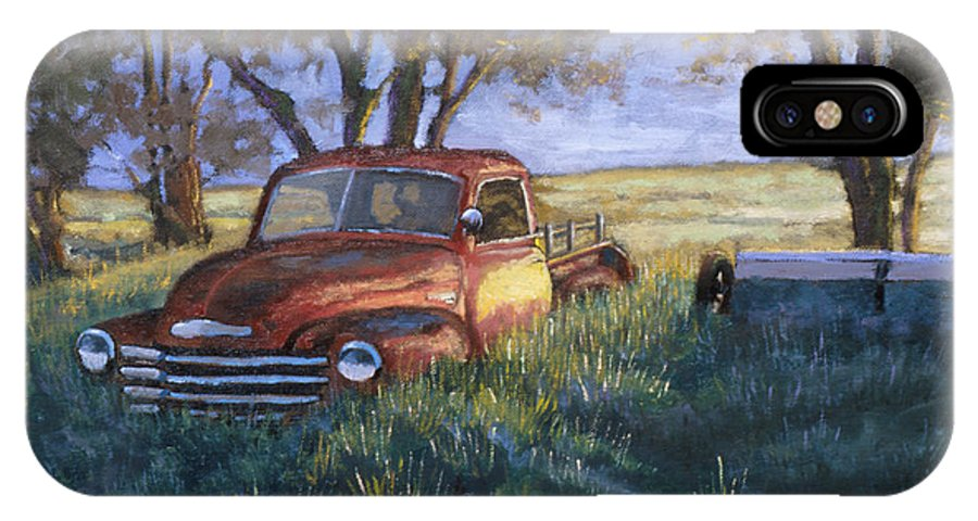Pickup Truck IPhone X Case featuring the painting Forgotten But Still Good by Jerry McElroy