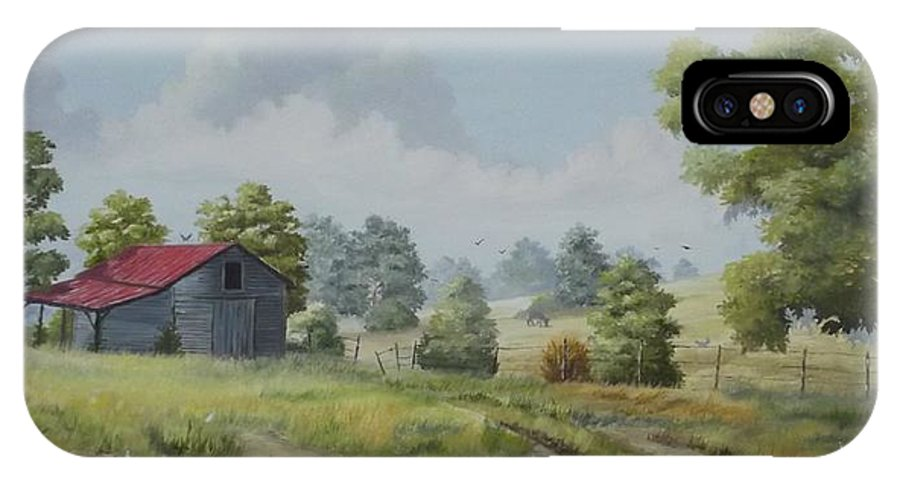 Old Barn IPhone X / XS Case featuring the painting Forgotten Homestead by Wanda Dansereau