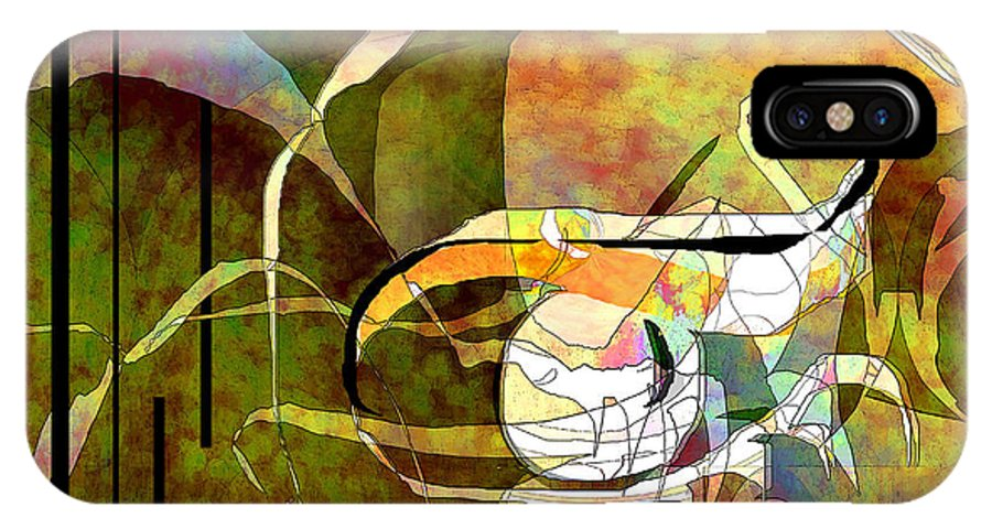 Abstract IPhone X Case featuring the digital art Forlorn by Ginny Schmidt