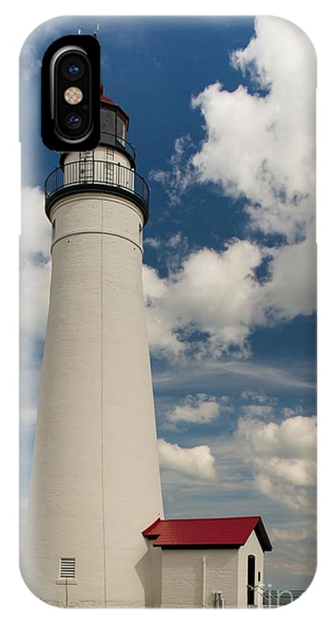 Fort Gratiot IPhone X Case featuring the photograph Fort Gratiot Lighthouse And Clouds by Larry Knupp