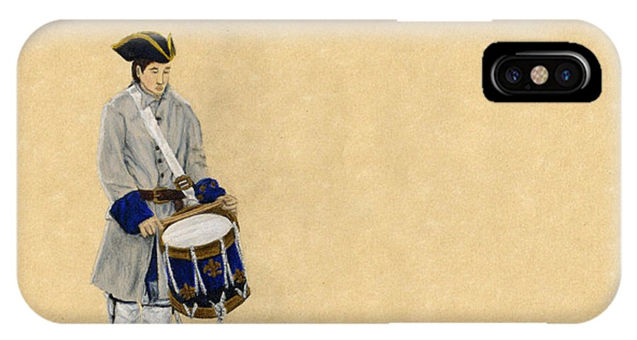 Fort Toulouse IPhone X Case featuring the drawing Fort Toulouse Drummer Boy by Beth Parrish