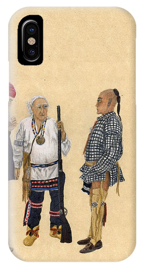 Colored Pencil IPhone X Case featuring the drawing Fort Toulouse Traders by Beth Parrish