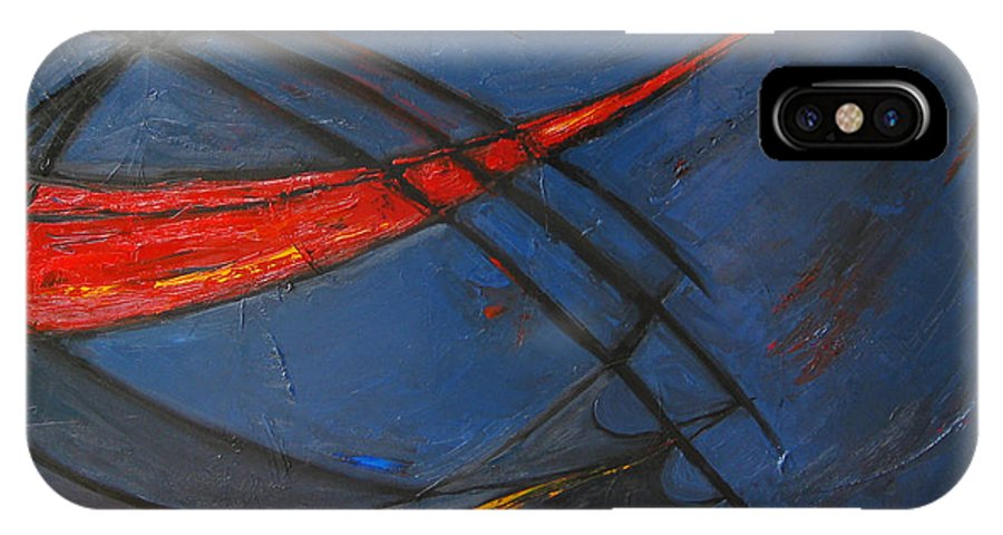Red IPhone X Case featuring the painting Forward by Patricia Awapara