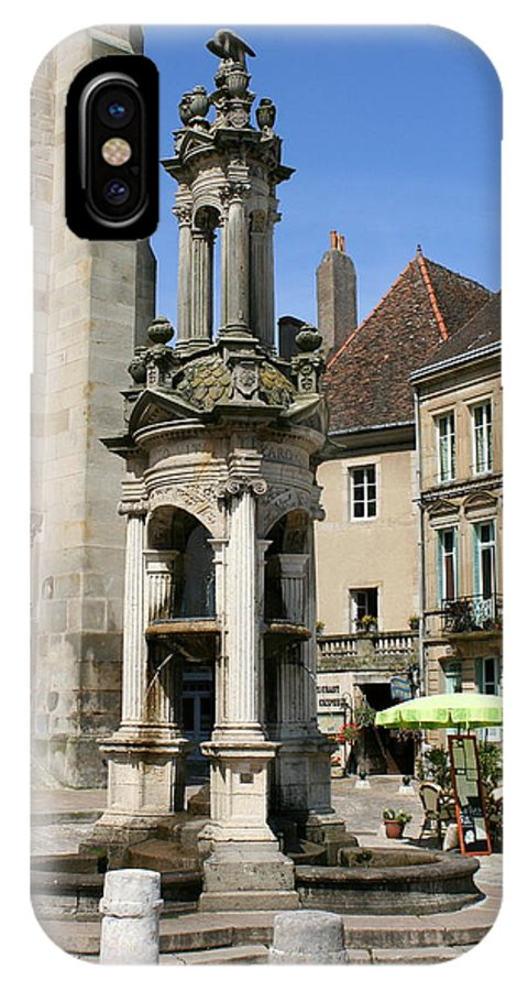 Autun IPhone X Case featuring the photograph Fountain On The Market Place Autun by Christiane Schulze Art And Photography