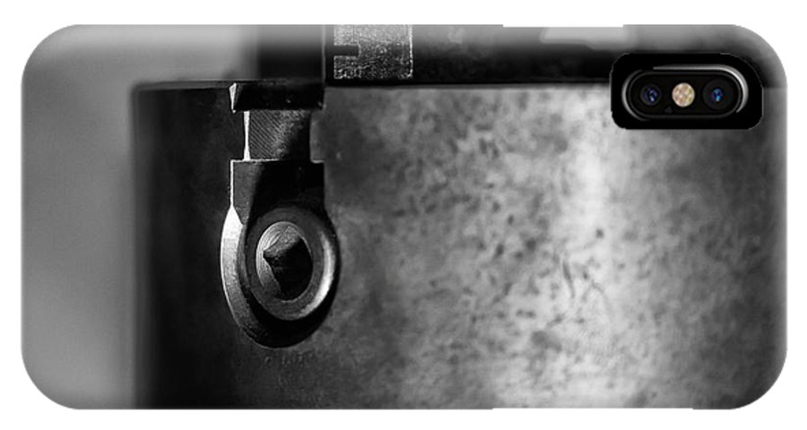 Lathe Chuck IPhone X Case featuring the photograph Four Jaw Chuck Black And White by Wilma Birdwell