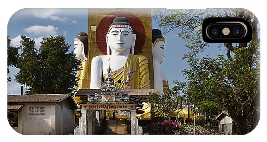 Myanmar IPhone X Case featuring the photograph four sitting Buddhas 30 metres high looking in four points of the compass at Kyaikpun Pagoda by Juergen Ritterbach
