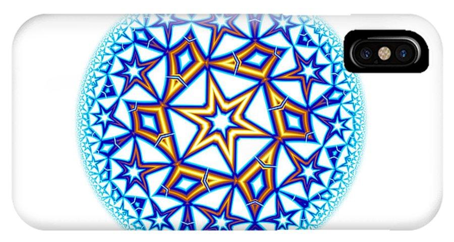Mandala IPhone X Case featuring the digital art Fractal Escheresque Winter Mandala 1 by Hakon Soreide