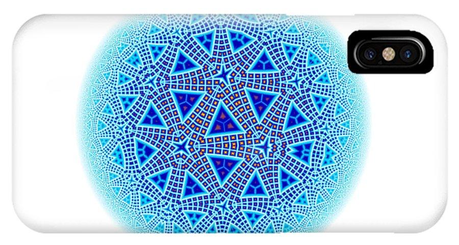 Escher IPhone X Case featuring the digital art Fractal Escher Winter Mandala 5 by Hakon Soreide