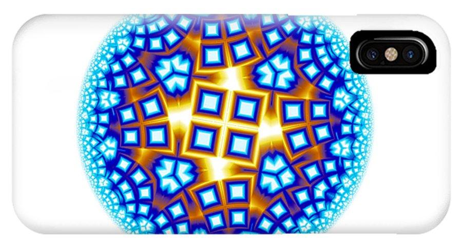 Mandala IPhone X Case featuring the digital art Fractal Escheresque Winter Mandala 9 by Hakon Soreide