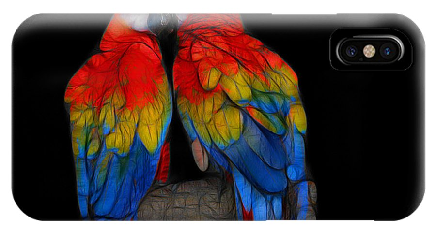 Animals IPhone X Case featuring the digital art Fractal Parrots by Teresa Zieba