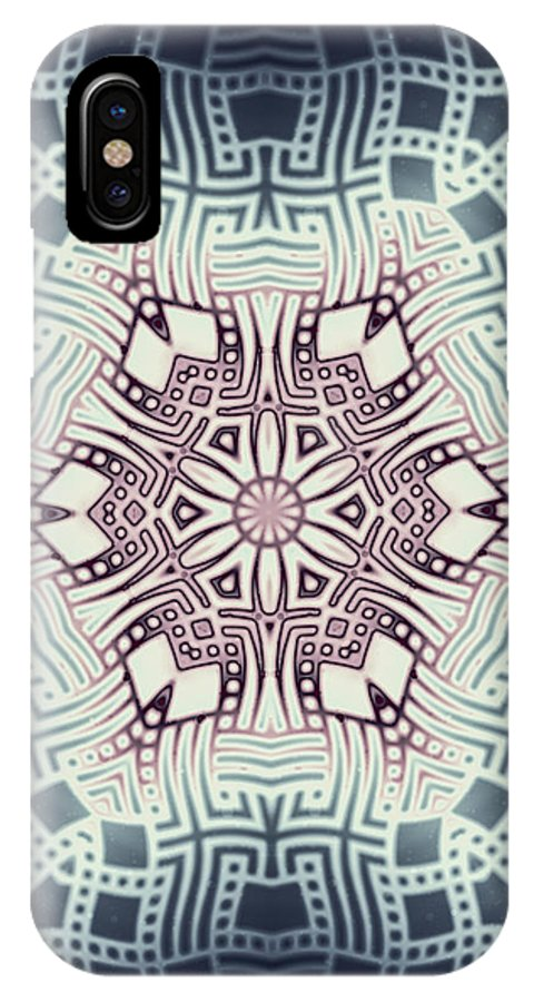Abstract IPhone X Case featuring the digital art Fractal Snowflake Pattern 1 by Hakon Soreide