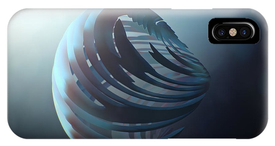 Mermaid IPhone X Case featuring the painting Fractal Sphere by Pixel Chimp