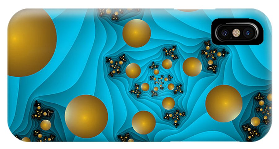 Digital Art IPhone X Case featuring the digital art Fractal The Blue Depth by Gabiw Art