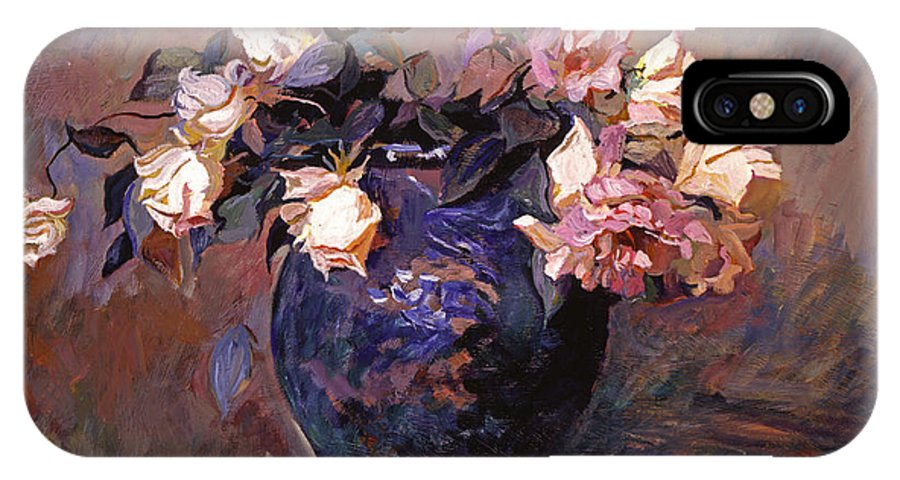 Still Lfe IPhone X Case featuring the painting Fragrant Rose Petals by David Lloyd Glover