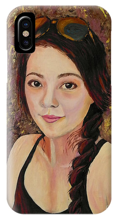 Self-portrait IPhone X Case featuring the painting Francesca by Francesca Kee