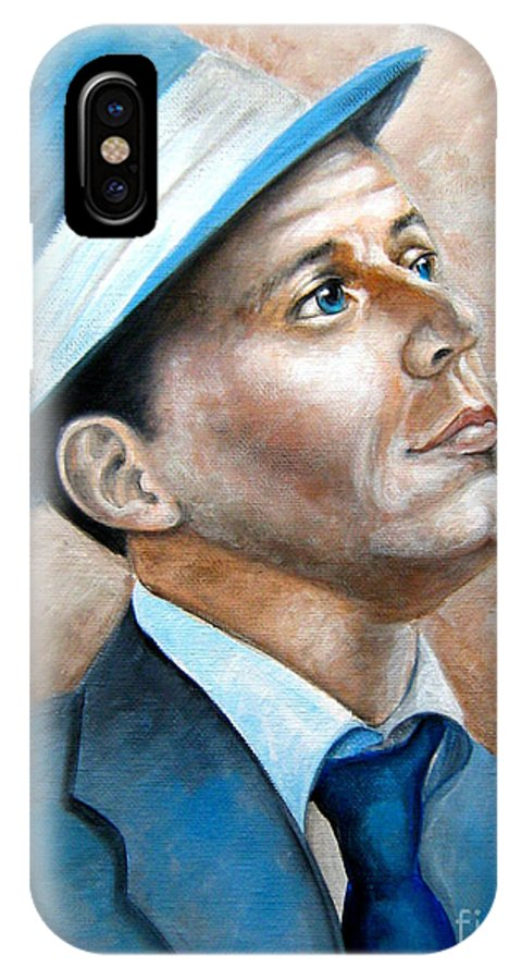 Frank IPhone X Case featuring the painting Frank Sinatra Ol Blue Eyes by Patrice Torrillo