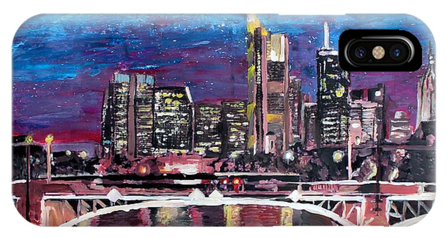 Night IPhone X Case featuring the painting Frankfurt Main Germany - Mainhattan Skyline by M Bleichner